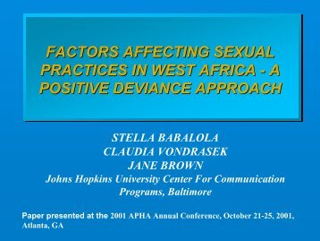 factors affecting sexual practices in west africa - a positive deviance ...