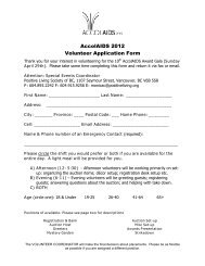 AccolAIDS 2012 Volunteer Application Form - Positive Living BC