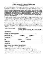 Healing Retreat Attendance Application - Positive Living BC