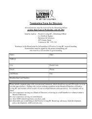 Nomination Form for Directors - Positive Living BC
