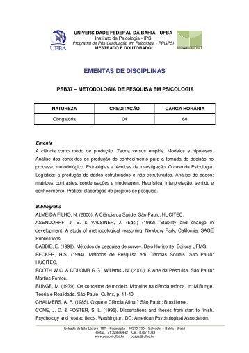 ipsb37 - metodologia de pesquisa em psicologia - Programa de Pós ...