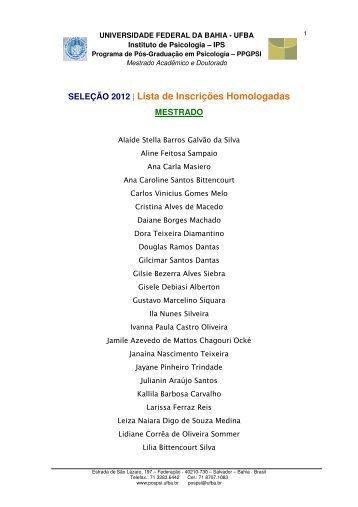 SELEÇÃO 2012 | Lista de Inscrições Homologadas - Programa de ...