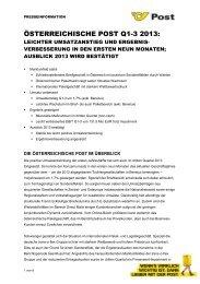 ÖSTERREICHISCHE POST AG: HALBJAHRESERGEBNIS 2010
