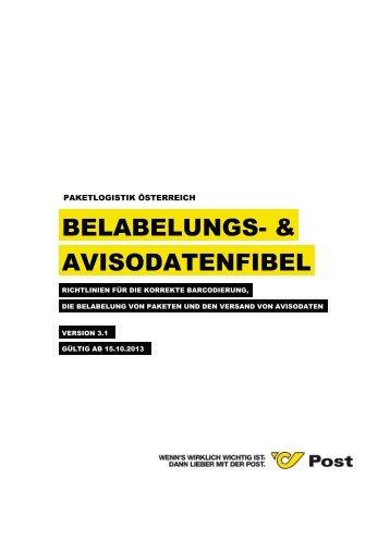 Belabelungsfibel und Avisodatenfibel - Österreichische Post AG