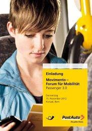 Einladung Movimento – Forum für Mobilität Passenger 3.0 - Postauto