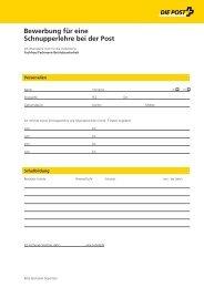 Bewerbung für eine Schnupperlehre Fachmann Betriebsunterhalt