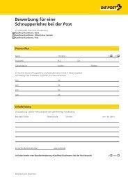 Bewerbung für eine Schnupperlehre KV - Die Schweizerische Post