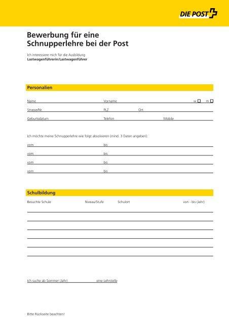Bewerbung für eine Schnupperlehre Lastwagenführer - Die ...