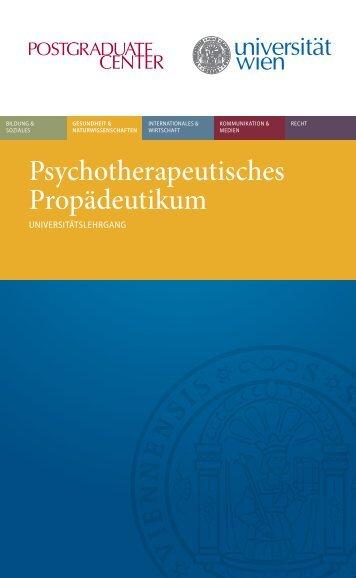 Psychotherapeutisches Propädeutikum - Postgraduate Center