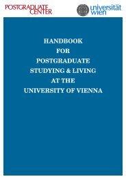 handbook for postgraduate studying & living at the university of vienna