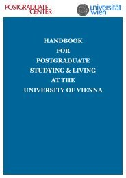 handbook for postgraduate studying & living at the university of vienna