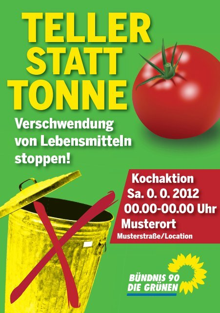 "Flyer-Vorlage: Kochaktion ""Teller statt Tonne!"" - Brigitte Pothmer, MdB"