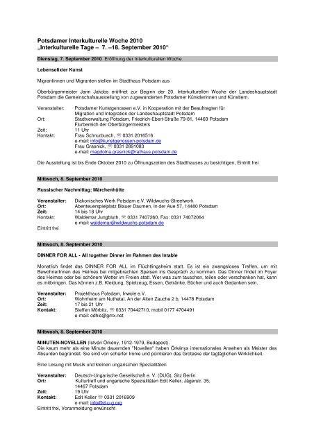 Programm-Flyer - Potsdam bekennt Farbe