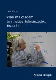 Warum Potsdam ein ,neues Toleranzedikt' braucht