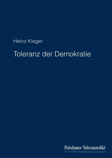 "Download: ""Toleranz der Demokratie"" - Potsdamer Toleranzedikt"