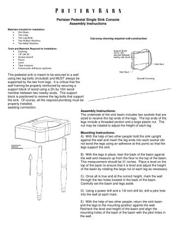 Parisian Pedestal Single Sink Console Assembly ...   Pottery Barn