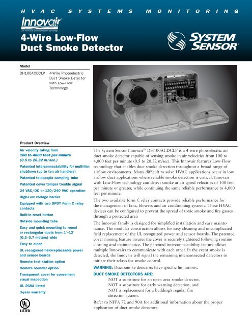 4-Wire Low-Flow Duct Smoke Detector - Pottorff