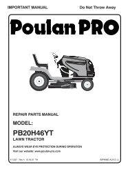 ipl, pb20h46yt, 2007-10, tractors/ride mowers, 96042003700 - Poulan