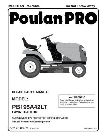 ipl dprhstb tractors ride mowers poulan ipl pb195a42lt 2010 10 tractors ride mowers 96048000403 poulan