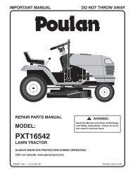 OM, PXT16542, 2008-10, TRACTORS/RIDE MOWER - Poulan