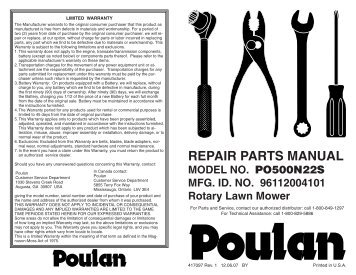 IPL, Poulan, 2050, 2150, 952801658, 952801664, 952802086