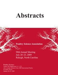 Abstracts - Poultry Science Association