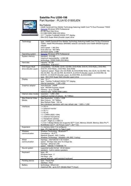Toshiba Satellite Pro U200 DVD-RAM Drivers for Windows 10