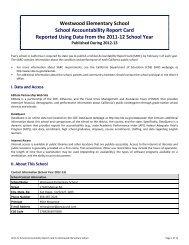 Westwood Elementary School School Accountability Report Card ...