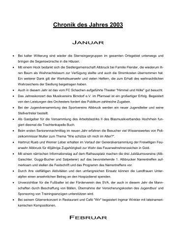 Chronik des Jahres 2003 - Gemeinde Albbruck
