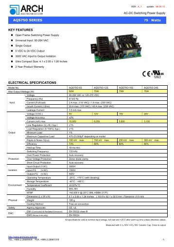 aqs75o series electrical specifications key features - Power Guide ...
