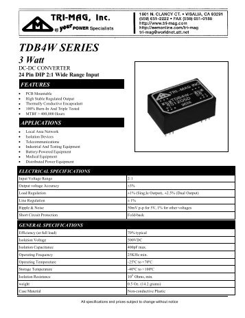 TDB4W SERIES - Tri-Mag, Inc.