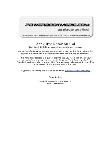 apple ipod mini take apart repair manual powerbook medic rh yumpu com Parts Manual Parts Manual