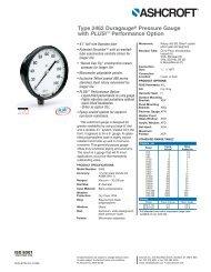 Ashcroft Type 2462 Duragauge ® Pressure Gauge Data ... - Instrumart