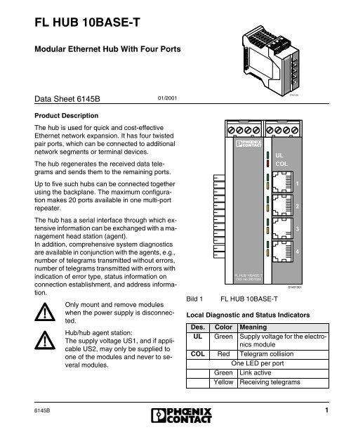 Data Sheet FL HUB 10BASE-T - Power/mation