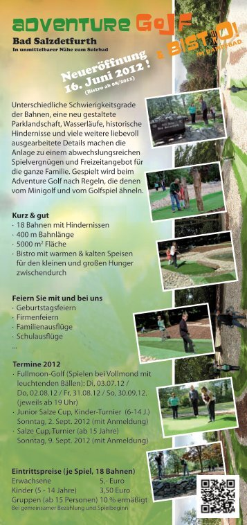 Handzettel - Adventure-Golf Anlage in Bad Salzdetfurth