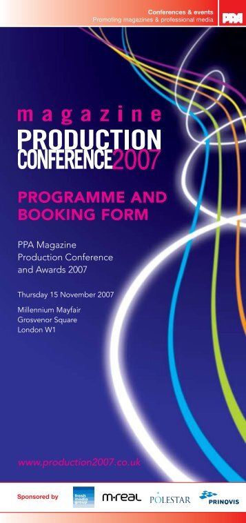 ProgrAMME AND bookINg forM - Periodical Publishers Association