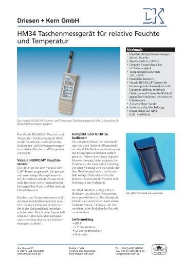 Datenblatt HM34 als pdf herunterladen - Driesen + Kern GmbH