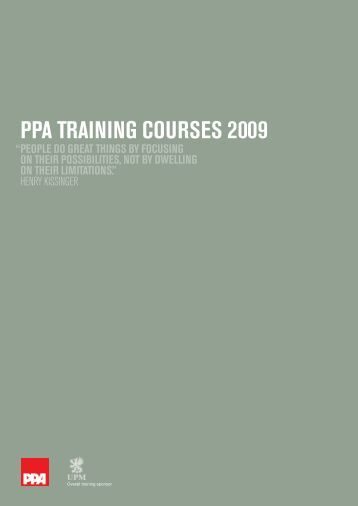 PPA TRAINING COURSES 2009 - Periodical Publishers Association