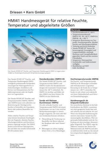 Datenblatt HMI41 als pdf herunterladen - Driesen + Kern GmbH