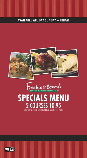 SPECIALS MENU - Frankie and Bennys