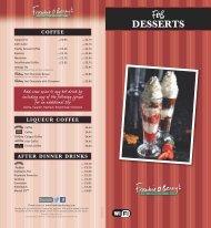 Desserts Menu - Frankie and Bennys