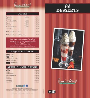 Desserts Menu - Frankie and Bennys
