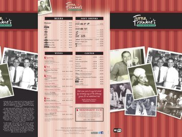menu - Frankie and Bennys