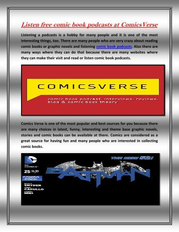 Listen free comic book podcasts at ComicsVerse