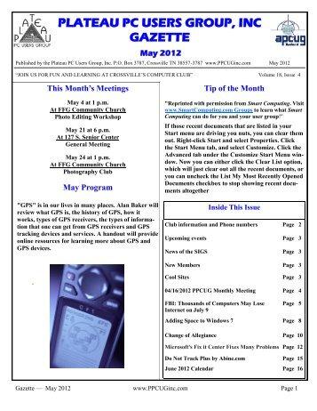 Gazette — May 2012 - Plateau PC Users Group