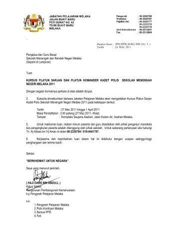 surat Kursus Platun Sarjan dan Kamander Polis - PPD Jasin