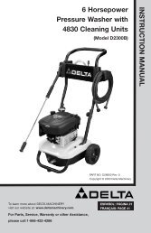 IN STRUCTIO N M ANUAL 6 Horsepower Pressure Washer with ...