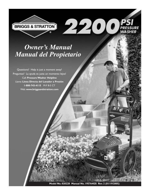 Owner's Manual Manual del Propietario - Ppe-pressure-washer ...