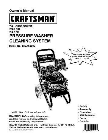 owner s manua 7 0 horsepower 2900 psi 2 3 gpm caution rh yumpu com sears 2700 psi pressure washer manual sears pressure washer parts