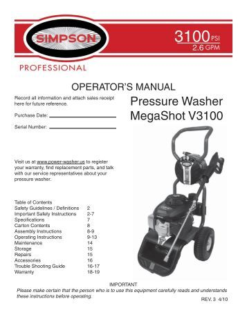 dewalt 3400 psi pressure washer instruction manual